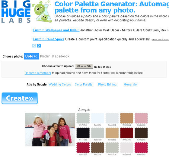 Color Palette Genrator from Big Huge Labs