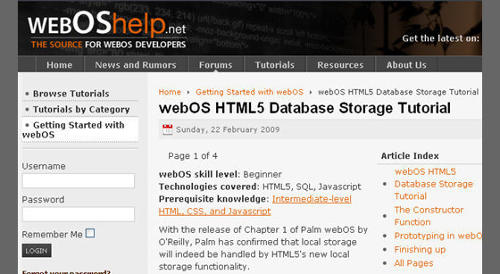 webOS HTML5 Database Storage Tutorial