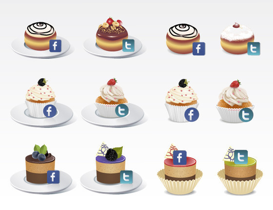 Facebook & Twitter Icons ~ Cake style