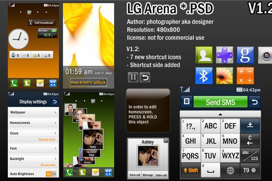 LG Arena UI PSD