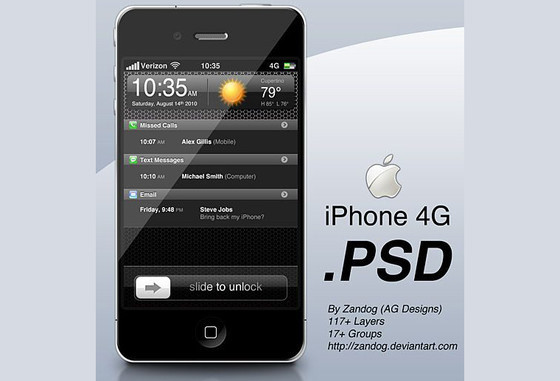 Apple iPhone 4G psd layered material