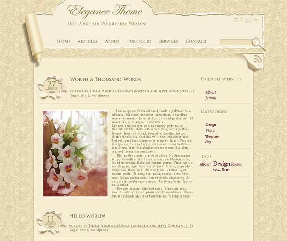 Elegant, Wallpaper style template layout