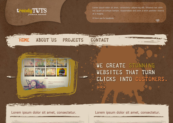 Create a cool and trendy grunge web layout in Photoshop