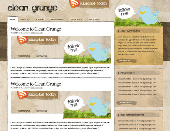 Making the 'Clean Grunge' Blog Design