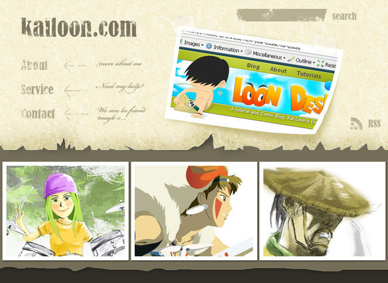 Design a Cartoon Grunge Web site Layout