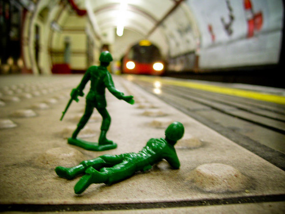 Toy soldiers in the Tube